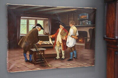 Large signed original oil painting trout fisherman antique 18th century interior