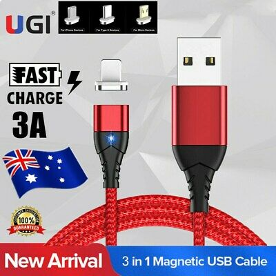 AU 3A Quik Magnetic Type C Micro USB Phone Charger Data Sync Charging Cord Cable