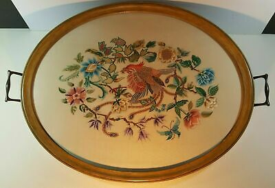Antique Victorian Large Glazed Tray Hand Embroidered On Silk - Bird Of Paradise