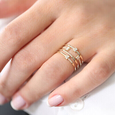 1Pc Women Multilayer Plated Cubic Zirconia Inlaid Finger Ring Jewelry Decor