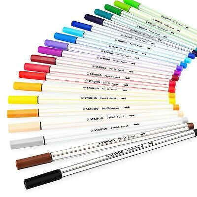 STABILO Pen 68 Brush Premium Felt Tip Brush Pen - 1-3mm Nib - 20 Colours