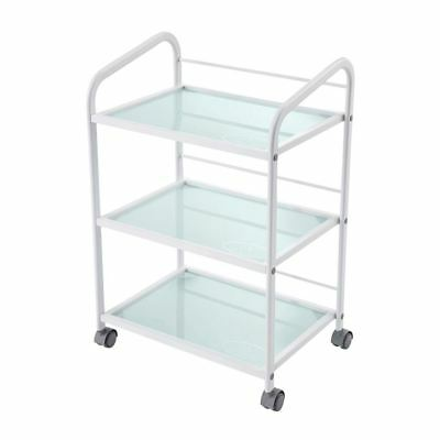 Glass Salon Trolley Hairdressing Beauty Cart Spa Display Cabinet White