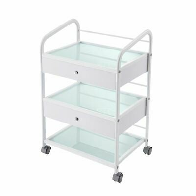 Glass Salon Trolley Hairdressing Beauty Cart Spa Display Cabinet Stand + drawers