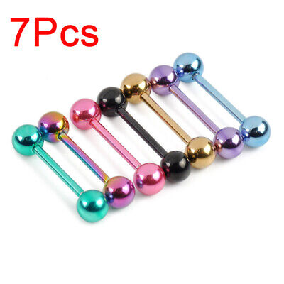 7 PCS Colorful Steel Bar Tongue Rings Body Piercing Jewelry Tounge Bars Summer