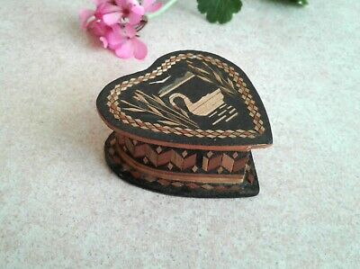 Vintage Small Wooden Heart Box Straw Inlay Black Wood Trinket Jewelry Swan Lake