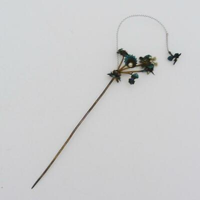 Antique Chinese Silver, Enamel And Pearl Cucuk Sanggul Hair Ornament