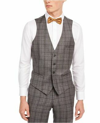 $125 Bar III Men's Slim-Fit Gray/Brown Plaid Suit Separate Vest Large