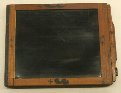 "4x5"" Dry Plate Glass Film Holder Wood OD 13x123x153mm - USED H241"