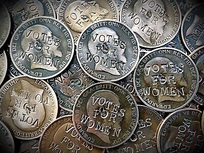 Votes for Women Suffragette Penny . Defaced Edward VII Coin . Buy 2 Get 1 Free