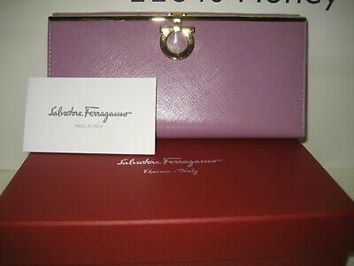 $575 NEW Salvatore Ferragamo Continental Leather ID Card Wallet Gold Gancini Box