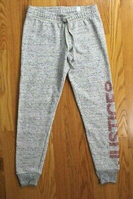 """Justice Girls', Size 10, Gray Joggers with """"JUSTICE04"""" in Glitter on Leg"""