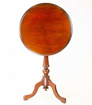 19C Large Mahogany Tripod Table Tilt Top Carved Stand Antique English Victorian