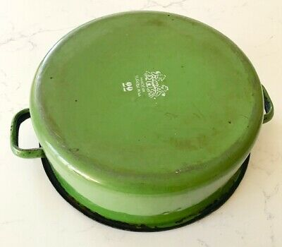 Vintage Yugoslavian green enamel metal casserole cooking pot pan tin old antique