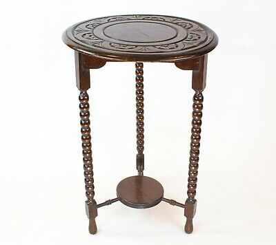 1900s Solid Oak Small Round Table Bobbin Legs Carved Antique English Arts Crafts