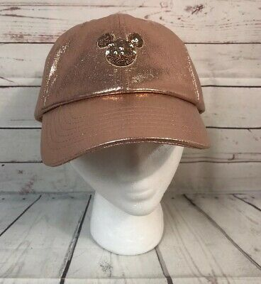 Disney Parks Minnie Mouse Briar Rose Gold Mickey Sequins Cap Hat Adult NWT