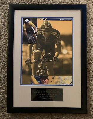 LANCE ARMSTRONG Signed Tour De France Matted Picture In Frame With COA & Plaque