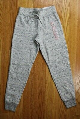 """Justice Active Girls', Size 8, Gray Joggers with """"JUSTICE"""" in Glitter on Leg"""
