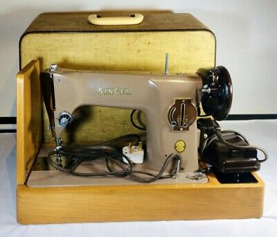 Vintage Singer 201k Electric Sewing Machine with Case and Accessories - 1957