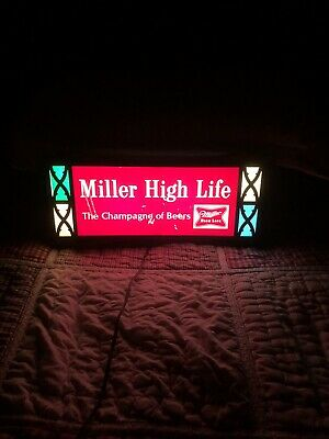 VINTAGE 1960s MILLER HIGH LIFE BEER/BAR/STAINED GLASS LOOK/LIGHT