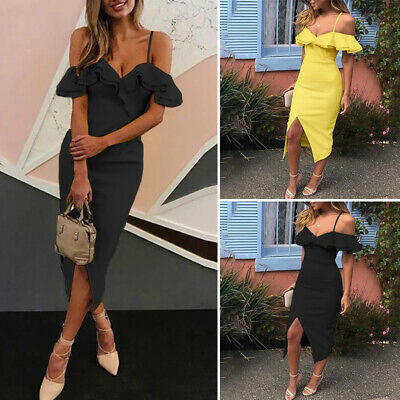 Womens Short Sleeve Cold Shoulder Solid Sexy Party Bodycon Dresses Midi Dress