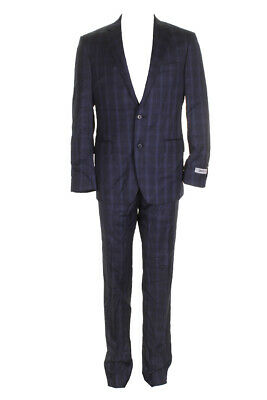 Dkny Mens Blue Plaid Slim-Fit Single Breasted Notched Lapel Suit 33W