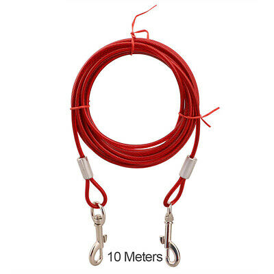 Metal Steel Tie Out Dual Collar Cable Lead Leash Dog Pet Supplies Puppy Wire UK