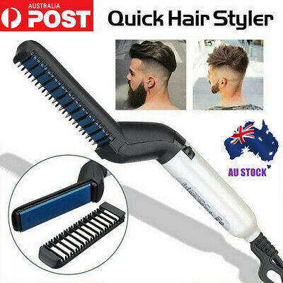 AU Quick Beard Straightener Hair Styler Multifunctional Comb Curler Show Cap Men