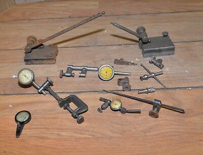 Antique Starrett dial indicators machinist inspection tool stands parts lot