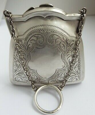 Beautiful Clean English Antique 1919 Solid Sterling Silver Ladies Handbag Purse