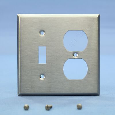 Leviton 2-Gang Switch Receptacle Outlet Cover Stainless Steel Wallplate 84005