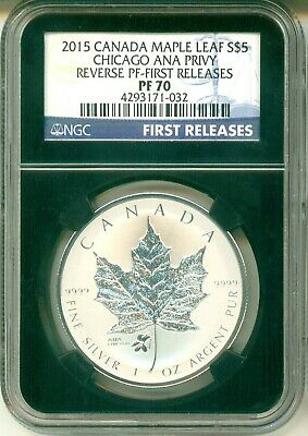 2015 Canada $5 Maple Leaf Chicago ANA Privy Reverse Proof First Release NGC PF70