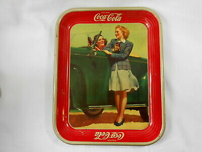1942 Advertising Coca-Cola Metal Tray 2 Girls and A Car