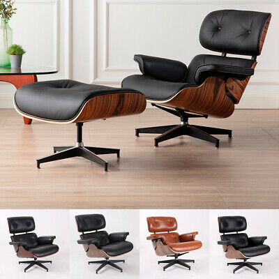 Premium Eames Lounge Chair and Ottoman Real Italian leather Walnut Wood Armchair