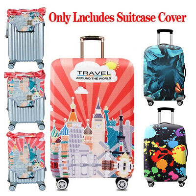 Printed Elastic Dustproof Travel Suitcase Protective Cover Luggage Protector DD