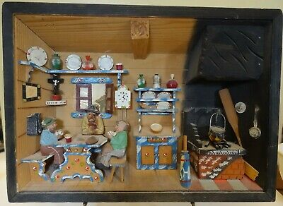 DLbx VINTAGE ITALY DIORAMA HAND CARVED KITCHEN, CARD PLAYERS SHADOW BOX 12.5 X 9
