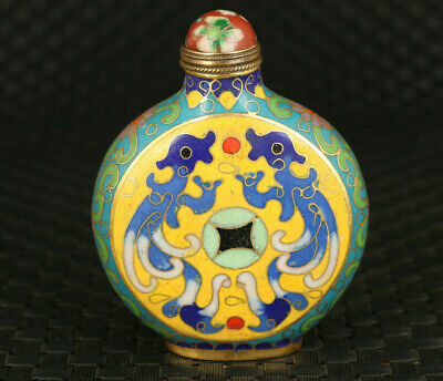 Antique chinese old cloisonne Handpainted dragon statue exquisite snuff bottle