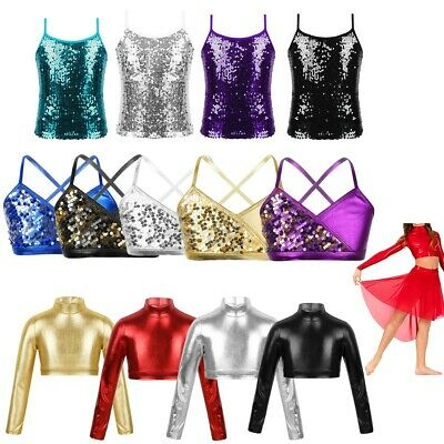 Girls Kid Metallic Crop Top T-Shirt School Dance Wear Top PartyPerformance Vest