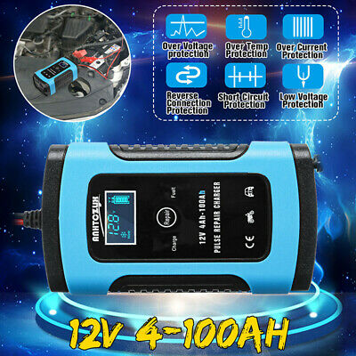 12V 6A Smart Pulse Repair LCD Car Battery Charger Motorcycle For Automobile