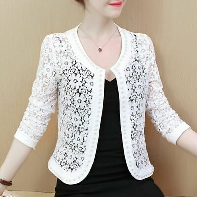 Women Jacket Coat Long Sleeve Beading Hollow Lace 1pc O Neck Lace Casual Lady