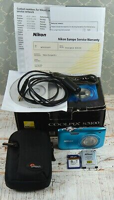 NIKON Blue Coolpix S3100 14MP Wide 5x Zoom VR Digital Compact Camera Boxed