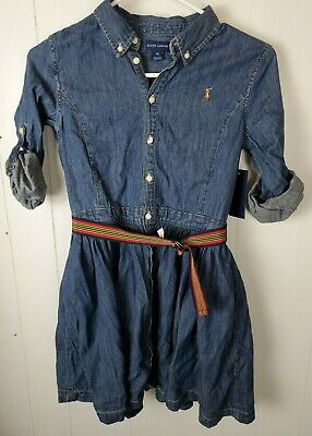 Ralph Lauren Girls Dress Size 14 Blue Denim Long Sleeve Button Front Jean