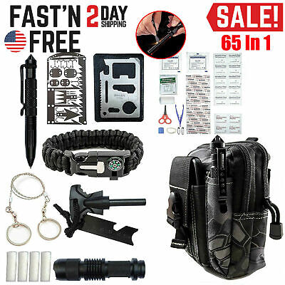 Survival Kit 65 in 1 Outdoor Camping Emergency Tactical Backpack Gear Tools Set