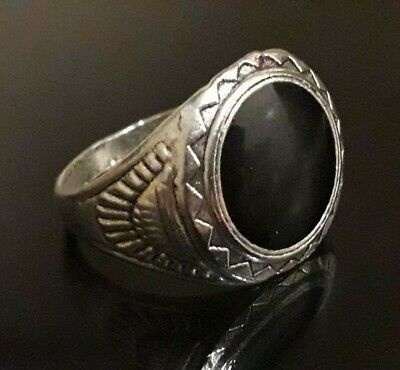Stunning Finger Ring Roman Medieval Unique Jewelry Silver Antique Black Stone