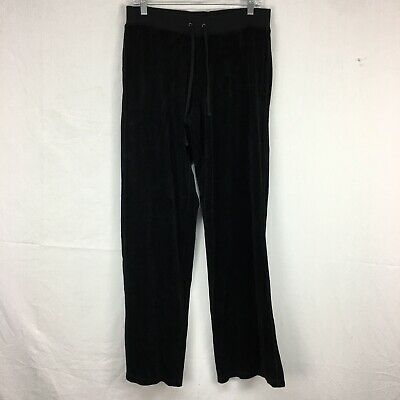 Vtg Juicy Couture Black Velour Track Pants Womens Sz M