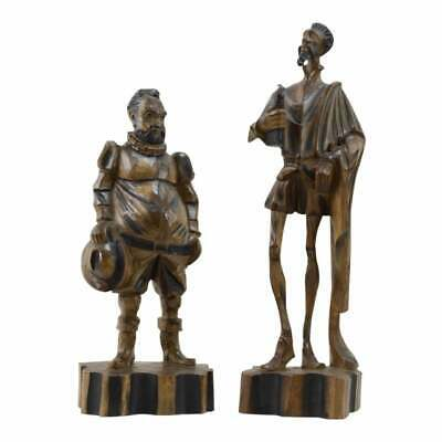 Antique 20th Century Spanish Carved Don Quixote and Sancho Panza Sculptures Old.