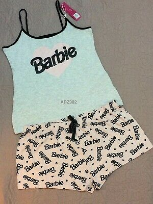 Brand NEW Barbie Primark ladies sleeveless Pyjama Set Short cami Vest Pjs BNWT