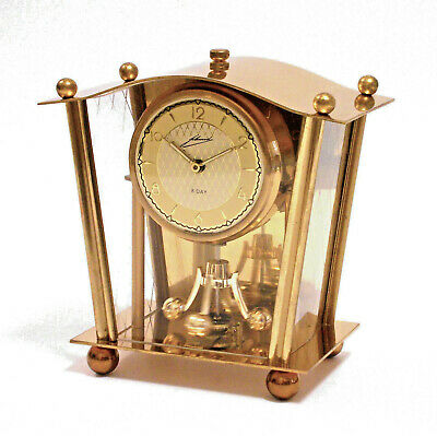 OROLOGIO PENDULUM VINTAGE Brass SCHMID Schlenker West Germany Desk Clock 8 Day