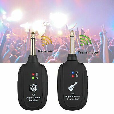 Rechargeable UHF Advanced Wireless System Guitar Transmitter+Receiver 20Hz-20kHz