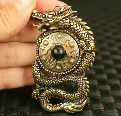 chinese old bronze hand cast dragon rotatable statue exorcism pendant compass