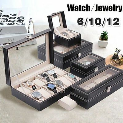 6 10 12 Grids Watch Jewelry Storatge Holder Box Wrist Watches Display Case Gi MV